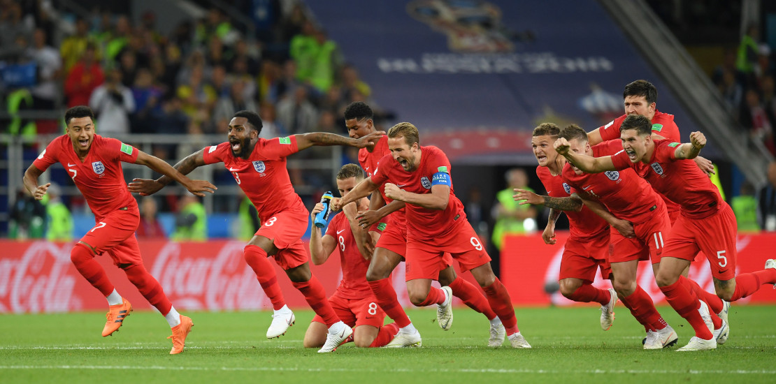England Players Celebrate following shoot out victory